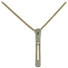 White and Yellow Gold Zipper Sliding Necklace with Diamonds