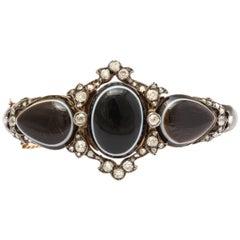 Antique Victorian Banded Agate Enamel Diamond Bracelet