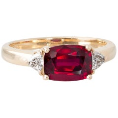 2.05 Carat Unheated Ruby and Diamond Yellow Gold Ring