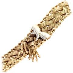 Vintage 1940s Braided Gold and Tassel bracelet with Diamonds, Handmade Bracelet