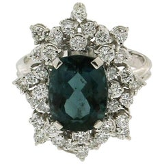 Tourmaline White Gold Diamonds Fashion Ring