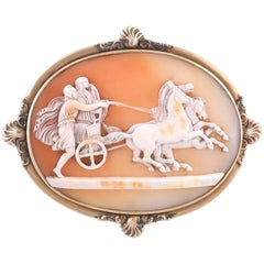 Shell Cameo Brooch Depicting Nike & Mars in Chariot Three Horses