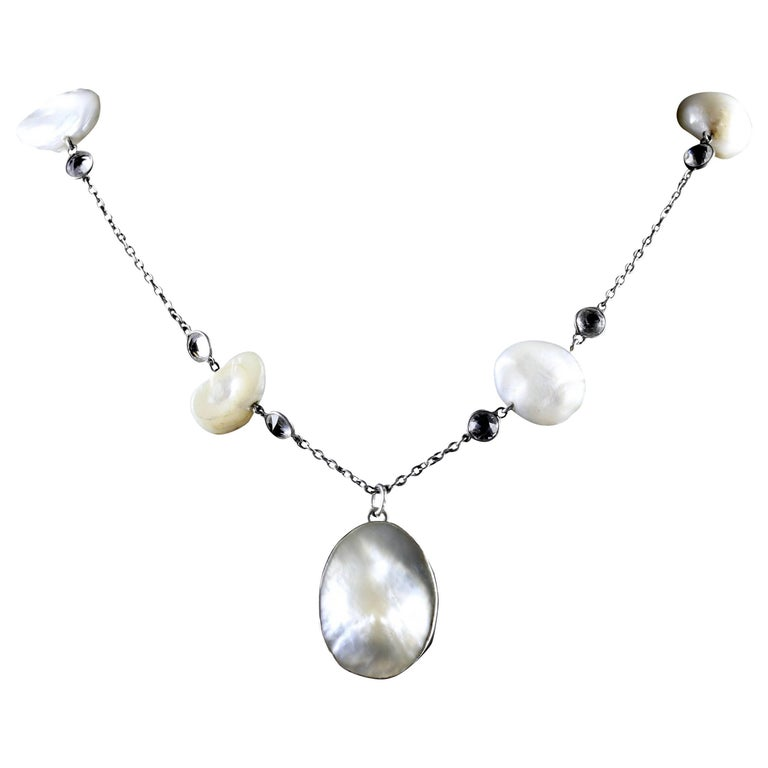 Antique Victorian Silver Blister Pearl Pendant Necklace, circa 1900