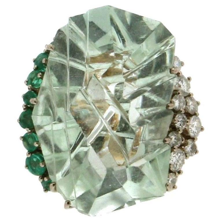 Aquamarine Yellow Gold Diamonds, Emeralds Cocktail Ring