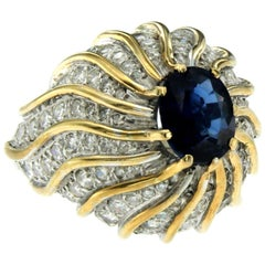 Retro Sapphire Diamond Cocktail Platinum Gold Ring