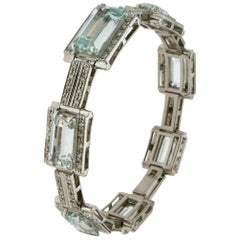 Aquamarine White Gold Diamonds Cuff Bracelet