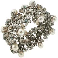 White Gold Fancy Diamonds and Japan Pearls Cuff Bracelet