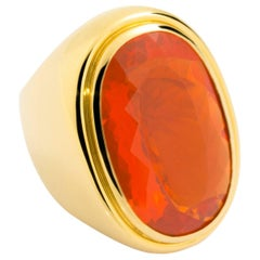 27.10 Carat Fire Opal Yellow Gold Cocktail Ring