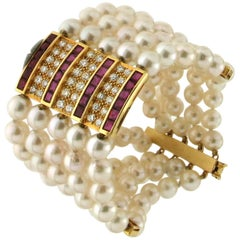 Cultured Pearls Yellow Gold Diamonds Rubies Cuff Bracelet