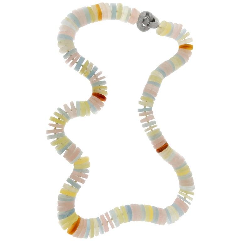 Jona Aquamarine Tourmaline Quartz Rondelle Necklace For Sale