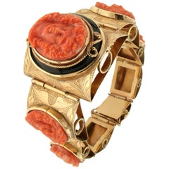 Coral Yellow Gold Onyx Cuff Bracelet