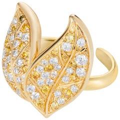 Nadine Aysoy Petite Feuilles 18 Karat Gold, Yellow and White Diamond Ear Cuff