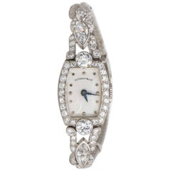 Tiffany & Co. Ladies Platinum Diamond Edwardian Manual Wristwatch