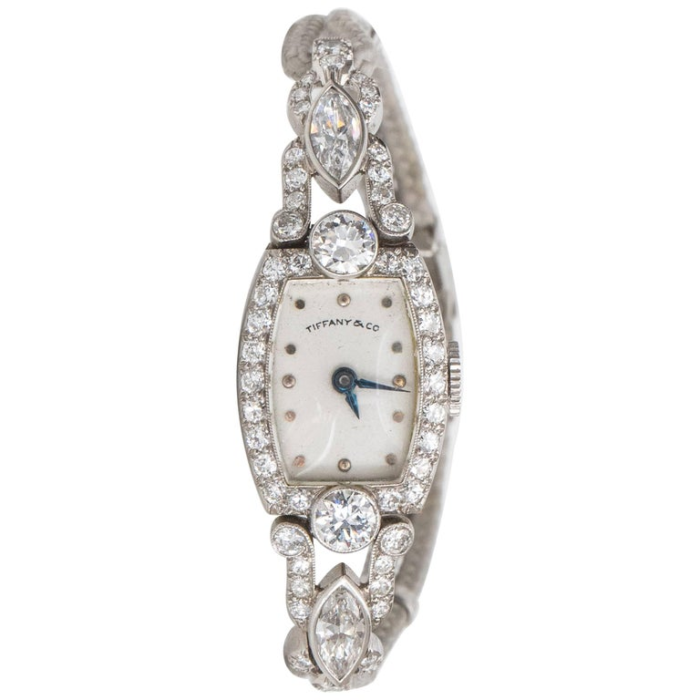 Tiffany & Co. Ladies Platinum Diamond Edwardian Manual Wristwatch