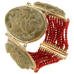 Yellow Gold Coral 14 Carat Lava Bead Cuff Bracelet