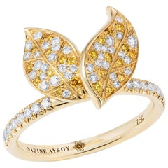 Nadine Aysoy Petite Feuilles 18 Karat Yellow Gold, Yellow and White Diamond Ring
