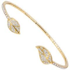 Nadine Aysoy Petite Feuilles 18 Karat Yellow Gold and Diamond Bracelet