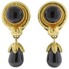 Elizabeth Locke Onyx Gold Drop Earrings