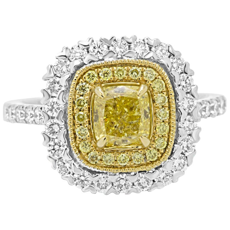 Natural Fancy Yellow Cushion Diamond Double Halo Two-Color Gold Engagement Ring