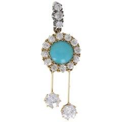 Antique Edwardian Turqouise Diamond Gold Pendant