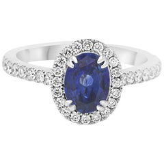 Blue Sapphire Oval Single Halo Diamond Gold Ring