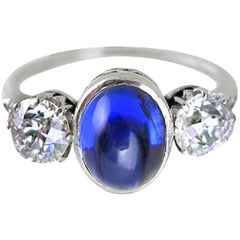 Antique Cabochon Sapphire and Old Mine-Cut Diamond Ring