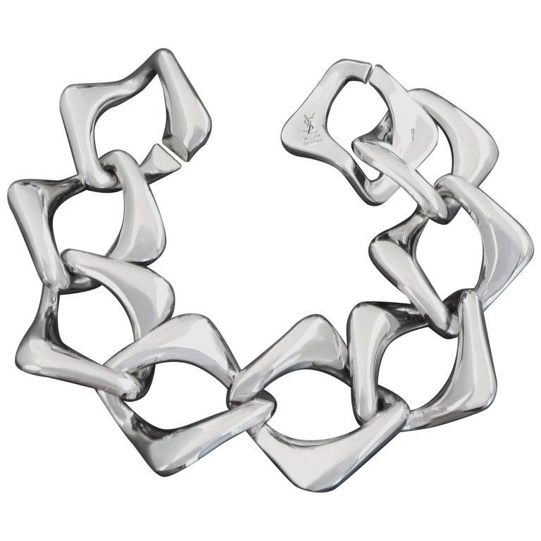 1980s YSL Yves Saint Laurent Vintage Sterling Silver Chain Link Bracelet