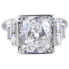Art Deco 3.74 Carat Cushion-Shaped Diamond Ring