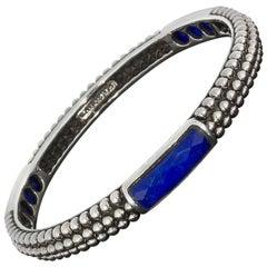 Lagos Malachite Doublet Sterling Silver Maya Caviar Bangle Bracelet