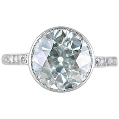 Fine Edwardian Single-Stone Old European-Cut  2.10 carat Diamond Ring