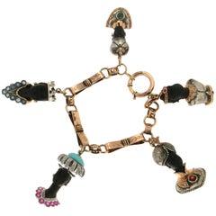 18th Century Black Mori Yellow and White Gold Cuff Bracelet