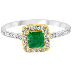 Emerald Square Diamond Round Halo Two-Color Gold Bridal Fashion Cocktail Ring