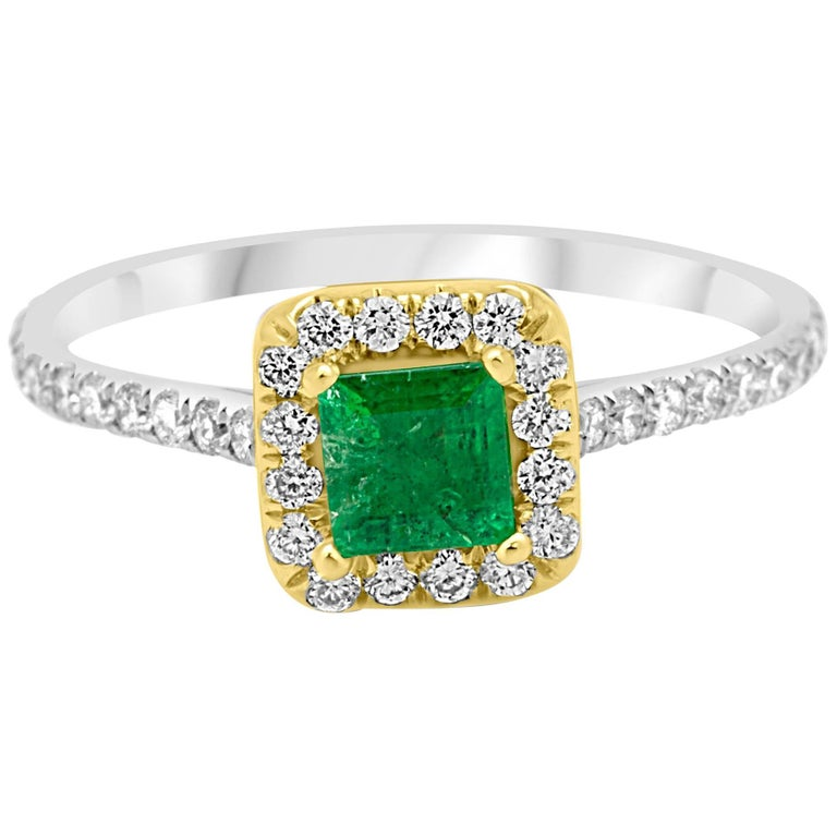 Natural Emerald Square Diamond Halo Two-Color Gold Ring