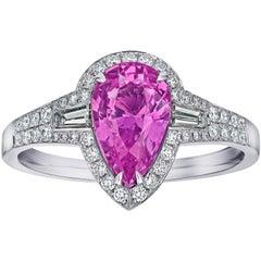 David Gross Group 2.66 Carat Pear Shape Pink Sapphire and Diamond Platinum Ring