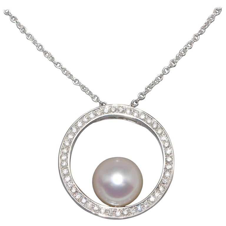 Cultured Pearl and White Diamonds on White Gold Chain Balanced Pendant Necklace