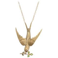 Victorian Swallow Necklace with Almandine and Demantoid Garnets