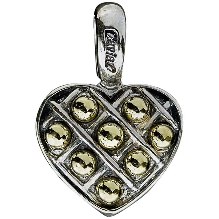 Lagos Caviar Box and Dot Sterling Silver and 18 Karat Gold Heart Pendant