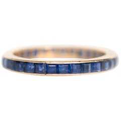 2.00 Carat, Total Weight Sapphire 18 Karat Yellow Gold Wedding Band