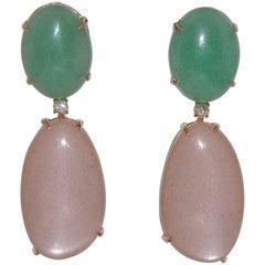 Aventurine Moonstone and Diamonds Yellow Gold Chandelier Earrings