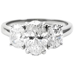 GIA Certified 1.72 Carat Total Oval Three-Stone Platinum Ring