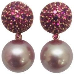 18 Karat Rose Gold Freshwater Pearl Rhodolite Garnet and Amethyst Earrings