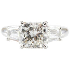 3.22 Carat Diamond Radiant Cut Platinum Engagement Ring