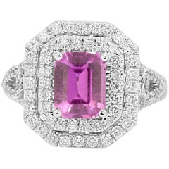 GIA Certified No Heat Pink Sapphire Diamond Double Halo Ring