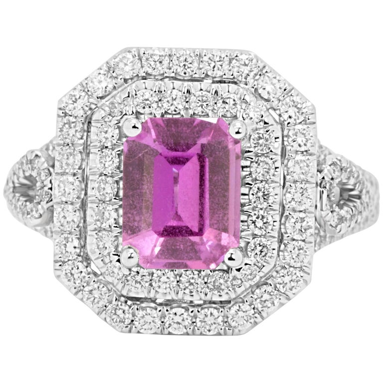 GIA Certified No Heat Pink Sapphire Diamond Double Halo Ring For Sale