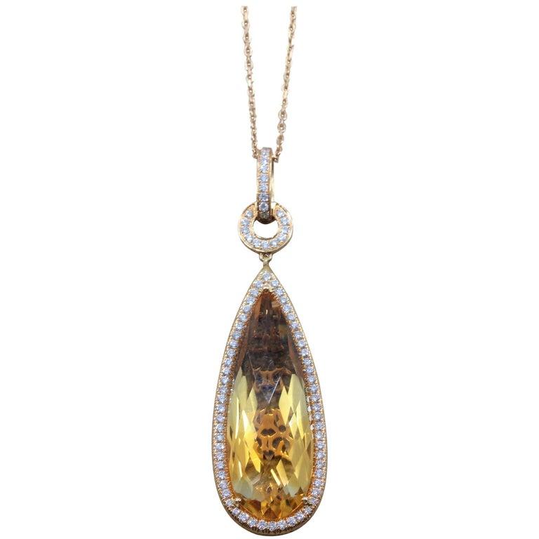 Citrine Diamond Gold Pendant Necklace