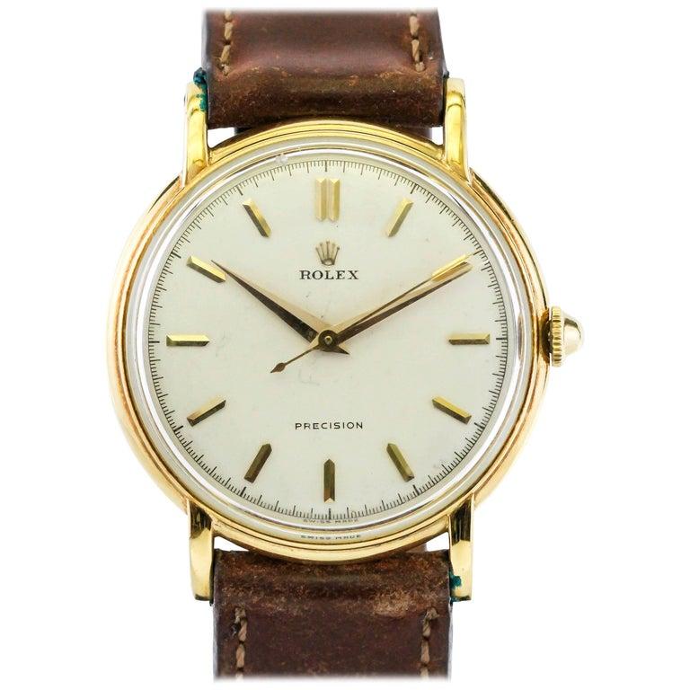 Rolex Yellow Gold Precision Manual Wind Wristwatch Ref 4222, circa 1950s