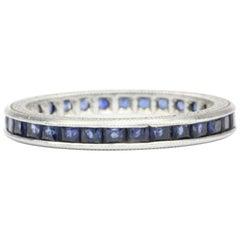 Art Deco Platinum 1 Carat Natural Sapphire Band Engraved, circa 1920s