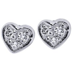 H & H 0.05 Carat Diamond Heart Stud Earrings