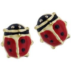 Baby 18 Karat Yellow Gold Ladybug Stud Earrings