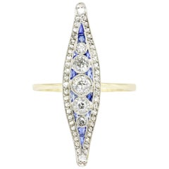 Edwardian Diamond and Sapphire Navette Ring, circa 1900s